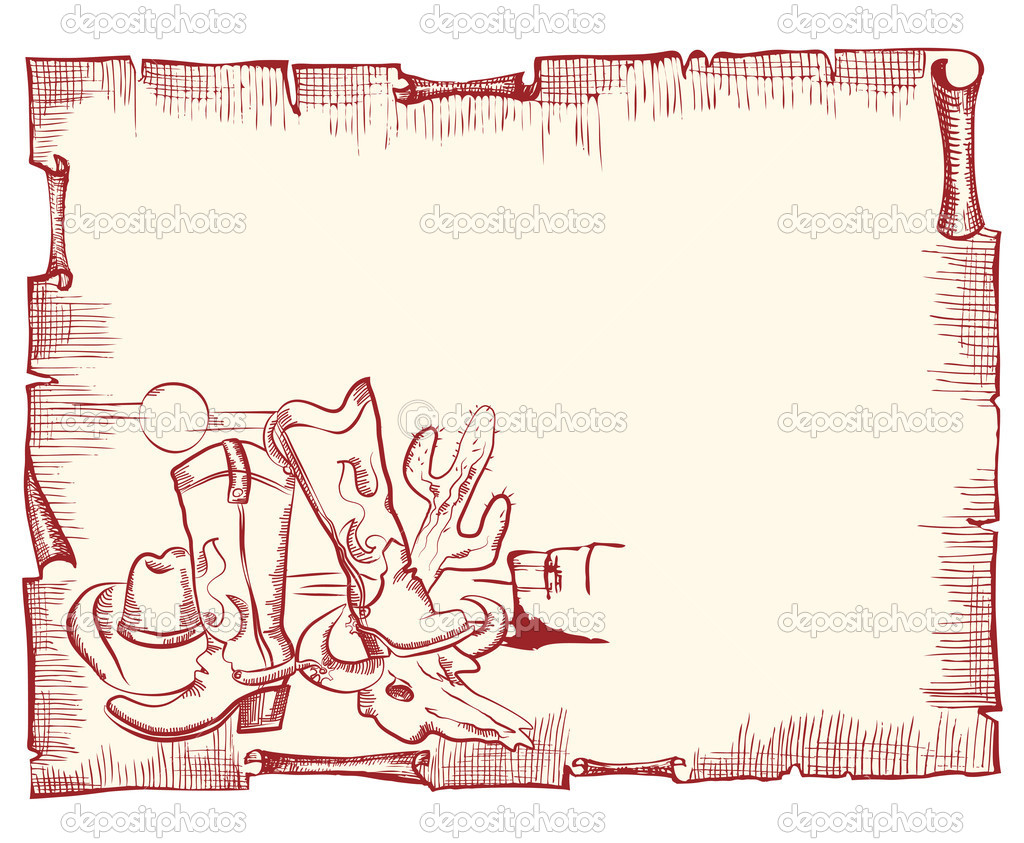 Cowboy elements . wild western background .Vector scroll for text  Stock Vector #6686285