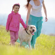 Royalty-Free Stock Photo: Happy family walking with dog