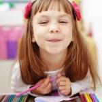 Little kid girl painting — Stock Photo