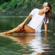 Beautiful girl in river — Stock Photo