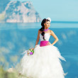 Bride over sea landscape — Stock Photo #5692186
