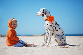 Child with dog — Stock Photo