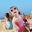 Child playing at the beach — Stock Photo
