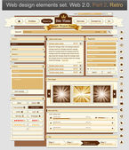 Diseño web set 2 retro — Vector de stock