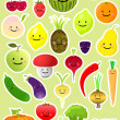 Collection of funny vegetables and fruit — Stock Vector