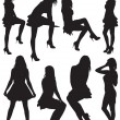 Eight silhouettes of beautiful girls - Stock Vector