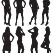 Eight silhouettes of beautiful girls — Stock Vector