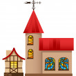 Medieval house and church - Stock Vector