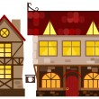 Medieval house and tavern - Stock Vector