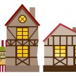 Medieval house and shop — Stock Vector