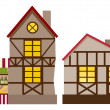 Medieval house and shop - Stock Vector