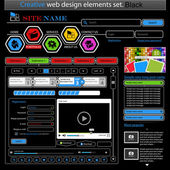 Creative black web design elements set — Stock Vector