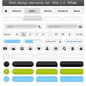 Web design elements set white — Stock Vector