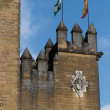Almodovar Del Rio medieval castle with flags of Spain and Andalusia — Stock Photo