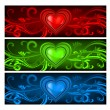 Stock Vector: Three-colored valentine background