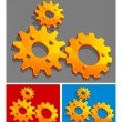 three-color gears — Stock Vector
