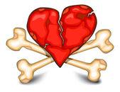 Heart & bones on white — Stock Vector