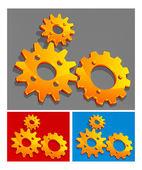Three-color gears — Stock Vector