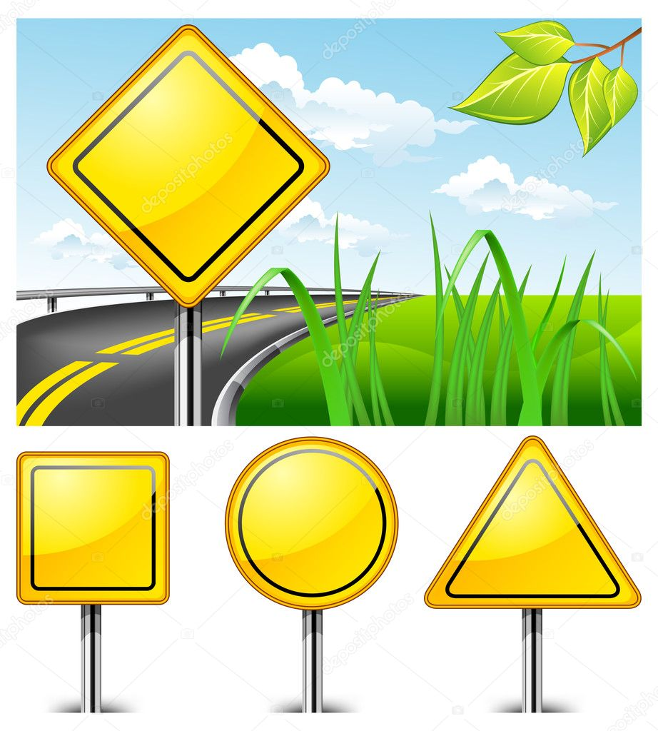 Landscape with road sign against nature and highway, vector illustration — Stock Vector #5723100