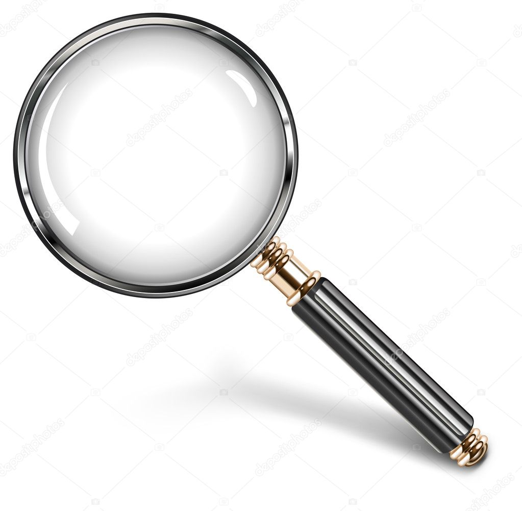 Magnifying glass for detailed image with black handle, vector illustration — Stock Vector #5723150