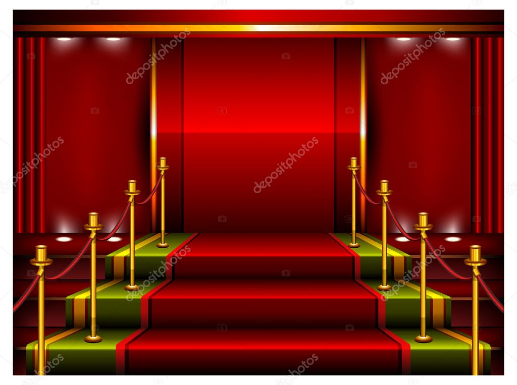 Red carpet and pedestal for rewarding ceremony, vector illustration — Stock Vector #5723156
