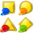 Stock Vector: Road signs & helmets