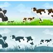 Stock Vector: Cow on meadow