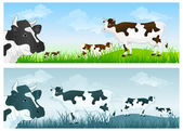 Cow on meadow — Vector de stock