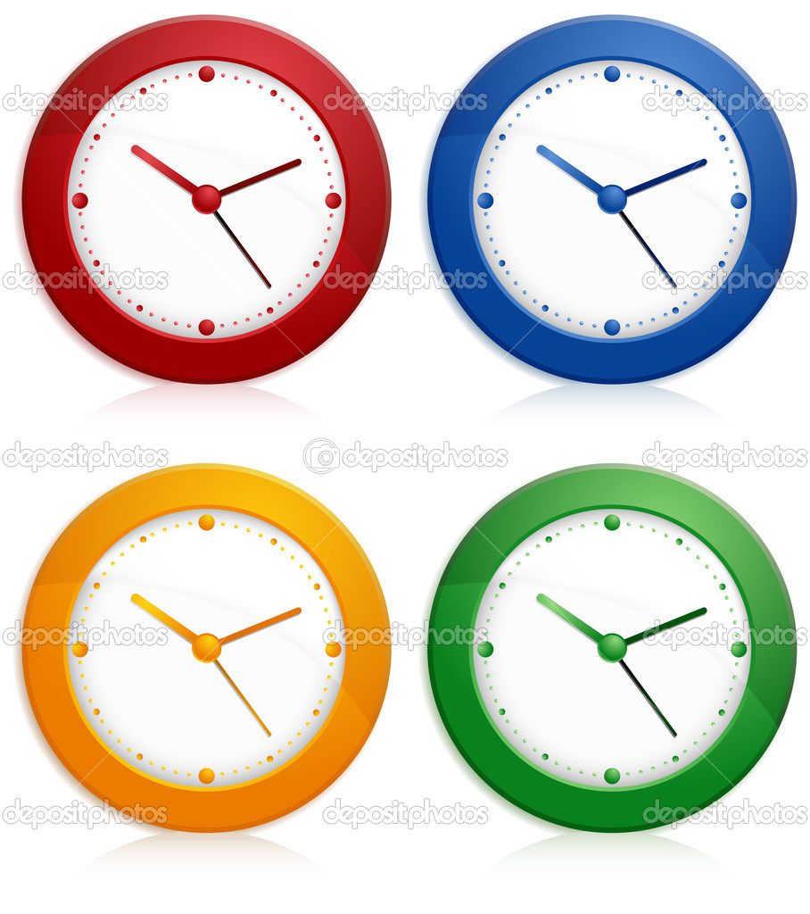 Office color wall clock on white background, vector illustration   — Stock Vector #5748101