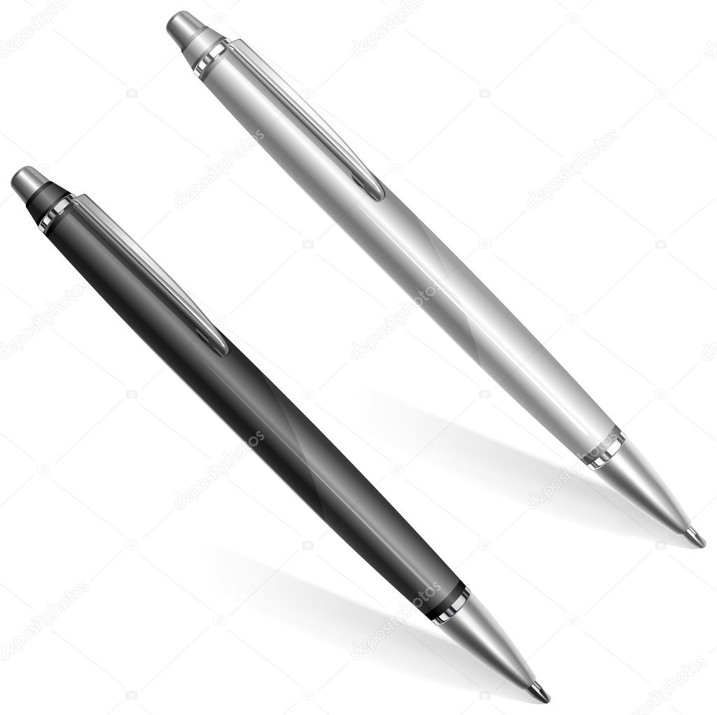 Two ball pens isolated on white background, vector illustration — Stock Vector #5748165