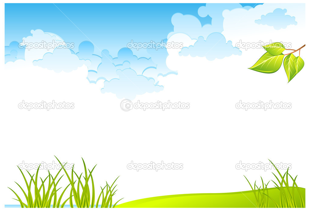 Green grass field and blue cloudy sky, vector illustration  — Stock Vector #5748209
