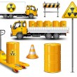 Stock Vector: Transport with radioactive waste