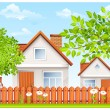 Small house with fence and garden - Stock Vector