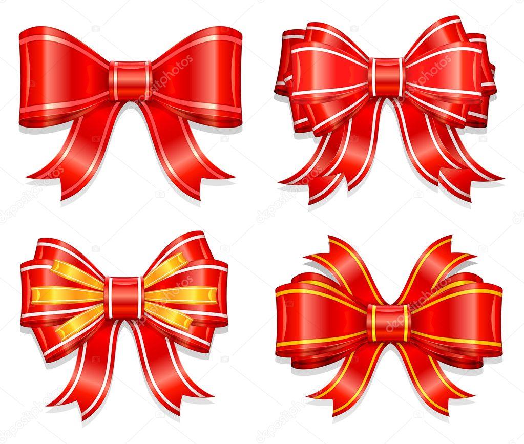 在白色背景矢量图上的包装礼物美丽红蝴蝶结 — 矢量图片作者 creator