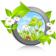 Vector de stock : Circle with flowers and red bug