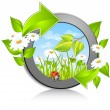 Circle with flowers and red bug -  