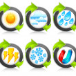 Weather round icons & arrow — Stock Vector #5761248