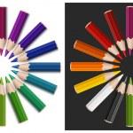 Colour pencils in circle — Stock Vector