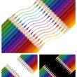 Stock Vector: Colored pencils drawing rainbow