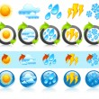 Weather round icons — Stock Vector
