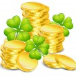 Royalty-Free Stock Vector Image: Golden coins with clover