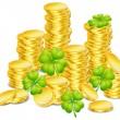 Golden coins with clover — Stock Vector