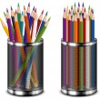 Stock Vector: Color pencils in support