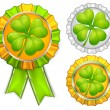 Award ribbons with clover — Stock Vector