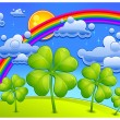 Stock Vector: Clovers under rainbow
