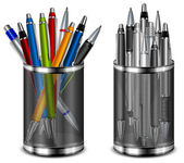 Set of color pens in support — Stock Vector