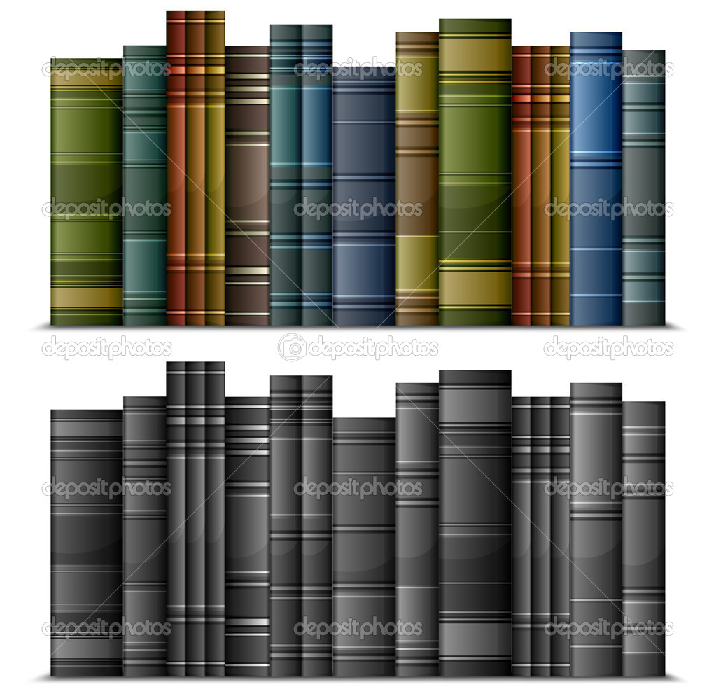Row of old vintage books isolated on white, vector illustration  — Stock Vector #5760454