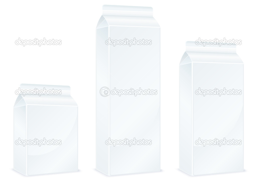 Milk carton packages isolated on white background, vector illustration — Imagen vectorial #5761457
