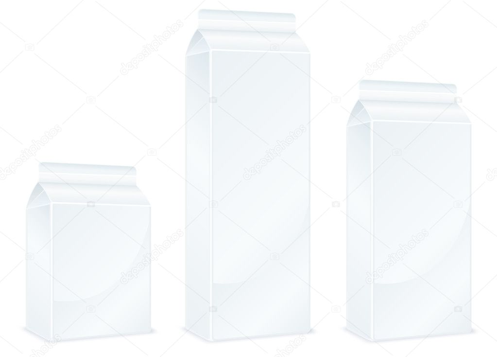 Milk carton packages isolated on white background, vector illustration — ベクター素材ストック #5761457