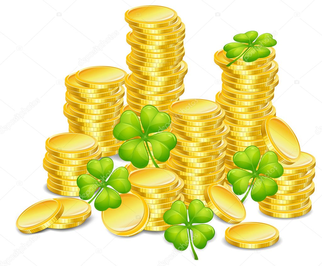 Golden coins with four leaf clover, vector illustration, for St. Patrick's day — Stock Vector #5761768